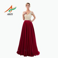 ANTI Evening Dress 2019 Sexy V Neck Backless Robe de Soiree Luxurious Pearls Crystal Sequined Burgundy Women Formal Party Gowns