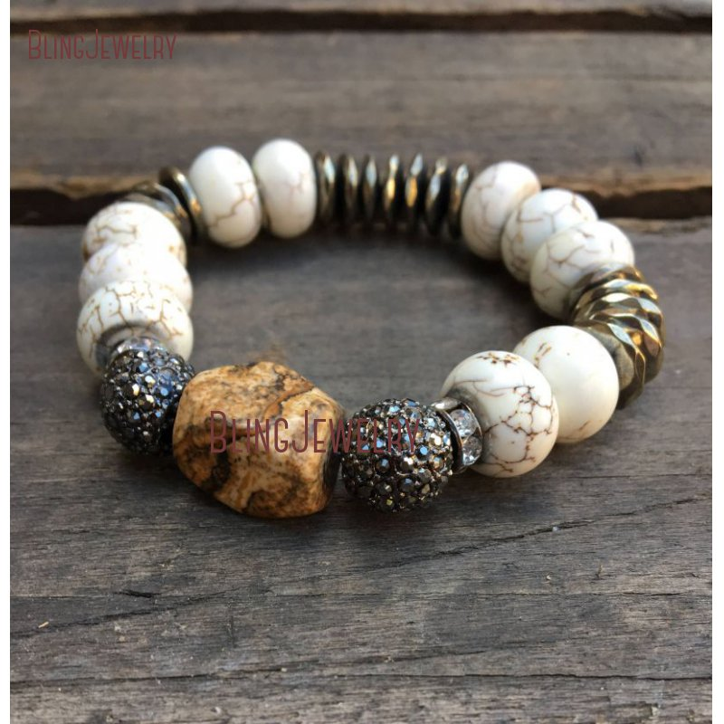 Австралийский нефритовый хризопраз белый бирюзовый драгоценные камни золотой браслет из бисера BM26467 - Окраска металла: BM10760