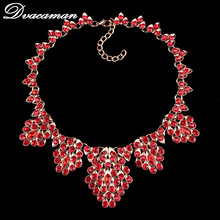 Dvacaman Fashion Luxury Colours Crystal Statement Necklace Collar Chokers Hot sell Bohemian Maxi Necklace For Women Jewelry 6522