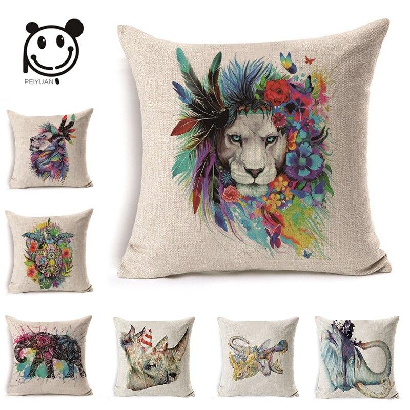 Peiyuan Cushion Cover High Quality Colorful Animal Lion