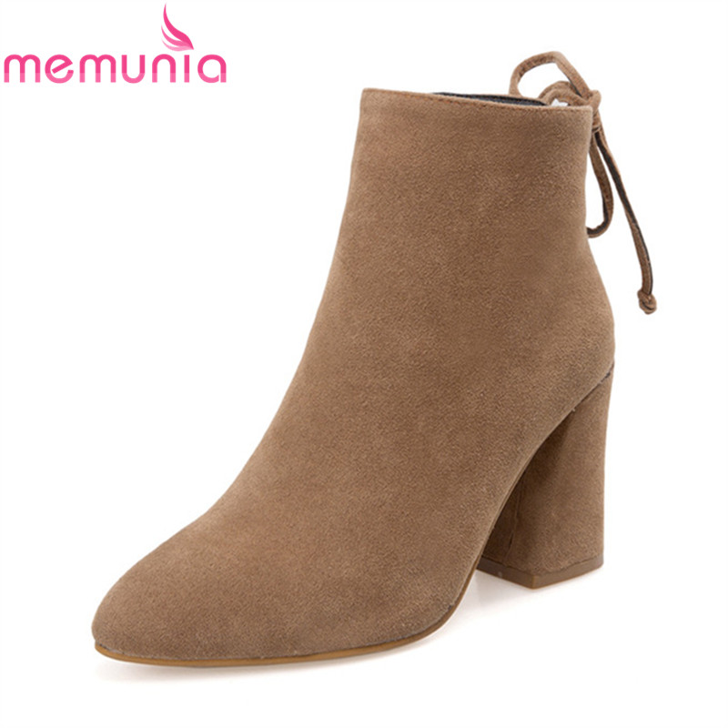 MEMUNIA 2020 new arrival ladies boots pointed toe with narrow band women's ankle boots 8.5cm thick high heels boots size 33-43