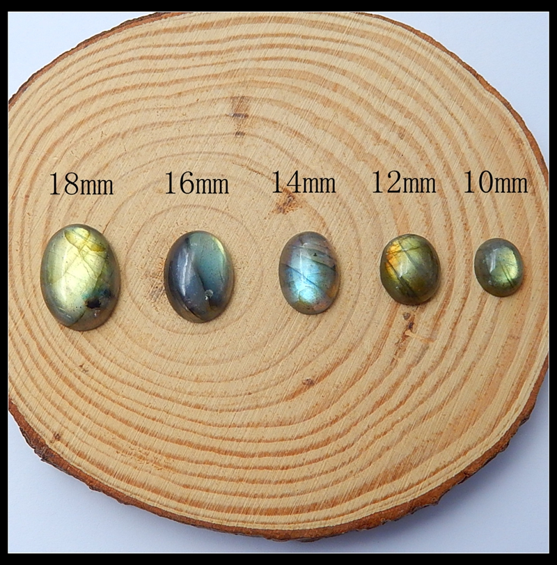 18mm/16mm/14mm/12mm/10mm Natural Labradorite Dome Flatback Oval Cabochon DIY Jewelry Random selection of brightnes Loose Bead
