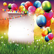 Laeacco Balloons Green Grassland Flower Birthday Party Ceremony Photographic Backgrounds Photography Backdrops For Photo Studio