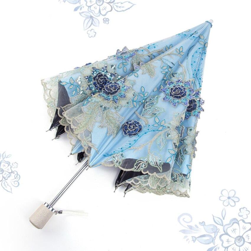 Top-grade Mini parapluie pluie femmes princesse dôme/cage à oiseaux soleil/pluie double-pliage broderie parapluie dentelle mariage parapluie