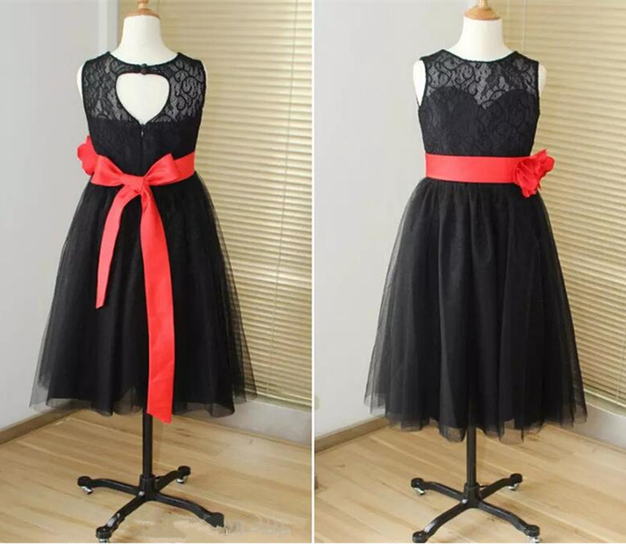 Black Tulle Lace flower girl dresses for wedding with sash knee length backless kids dress 2017 custom made tulle trim layered knee length tee dress