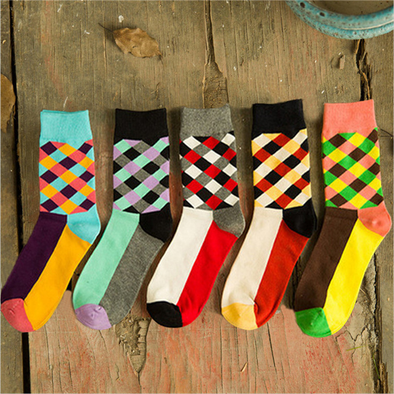 New Arrival Socks Men Cotton Autumn-winter Colorful Stripe Sock Men's Comfortable Breathable Black Socks