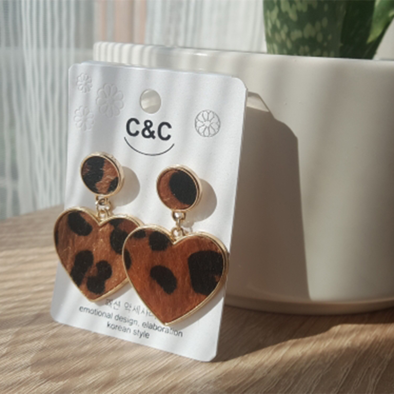 AENSOA New Arrival Fur Alloy Heart Earrings For Women Statement Love Temperament Leopard Drop Earrings Valentine's Day gift