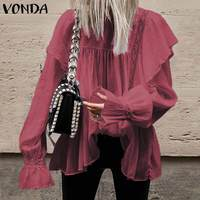 VONDA Plus Size Tunic Women Bohemian Beach Blouse 2019 Casual Loose Lantern Sleeve Shirts Vintage White Hollow Tops Sexy Blusas