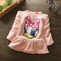 El nuevo otoño y el invierno 2016 de los bebés visten princesa vestido de 100% algodón engrosamiento de manga larga camisa de vestir Para Niños envío Gratis