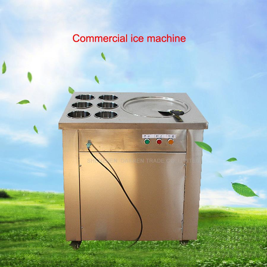 1pcs New arrival big dia pans fried ice cream machine frying ice machine ice pan machine with 6 barrels edtid new high quality small commercial ice machine household ice machine tea milk shop