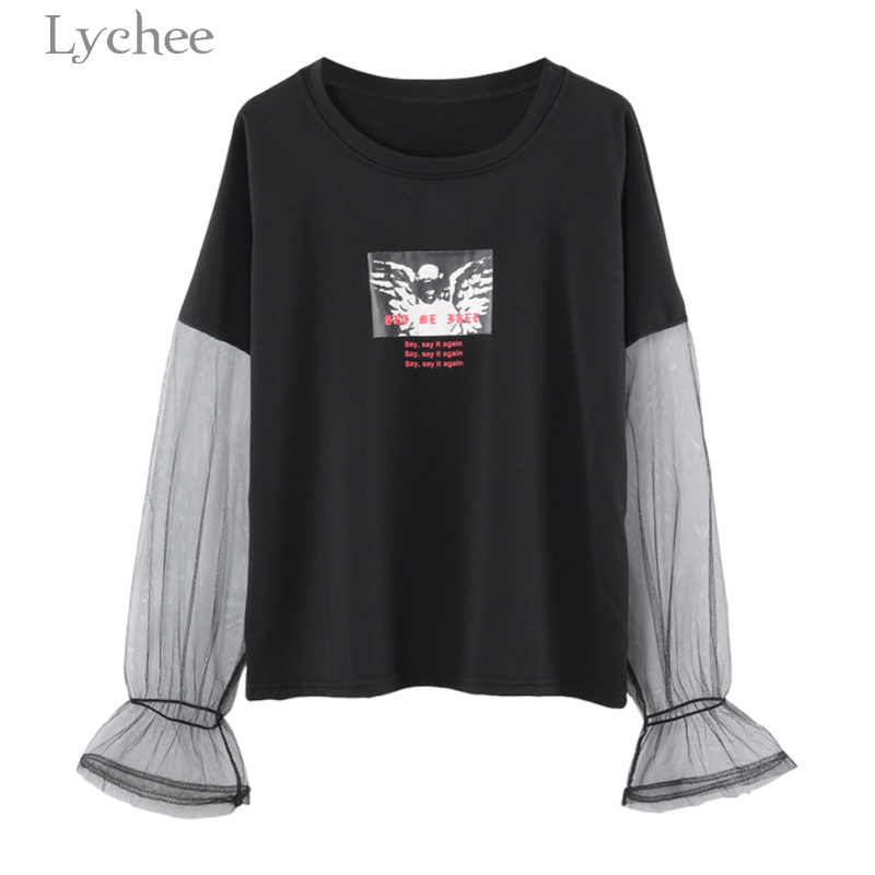 Lychee Harajuku Summer Women T-shirt Letter Print Mesh Patchwork Short Sleeve Casual Loose T Shirt Tee Top