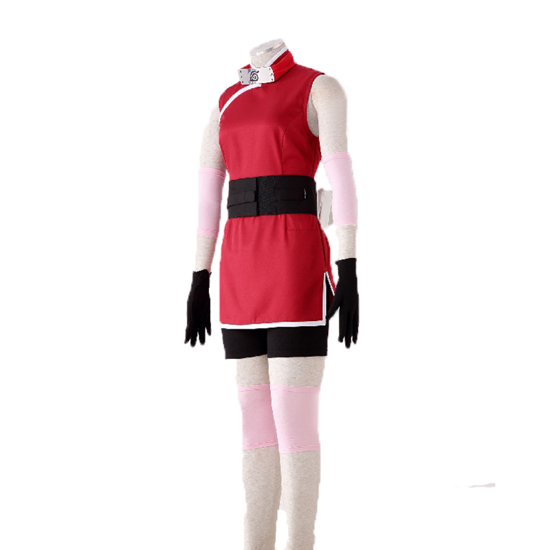 High Quality Stock Japanese Anime The Last Naruto the Movie Sakura Haruno Cosplay Costume with hair accessory For Halloween
