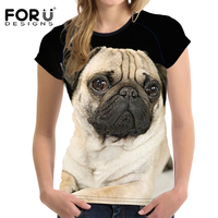 FORUDESIGNS 3D Pug Animal Women Casual T Shirt Summer Women Crop Tops O Neck Short Sleeved