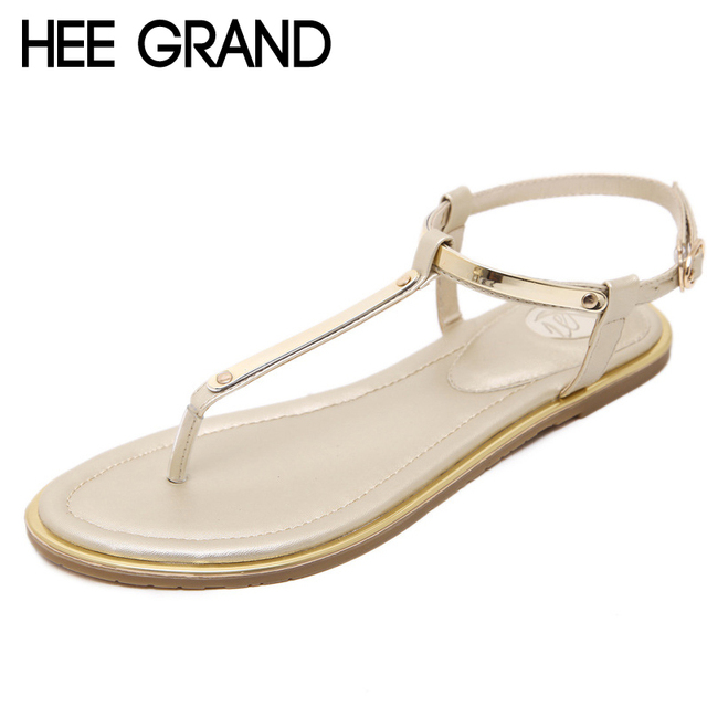 659ffd40dda HEE GRAND Summer Flip Flops Gladiator Sandals Gold pink Shoes Woman Slip On  Flats Casual Women Shoes Plus Size 35-43 XWZ4583