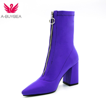 2018 Autumn New purple Stretch Knit fashion Ankle Boots Heels Women Square Heel Short Booties Pointed Toe 9CM High Heels Shoes цена в Москве и Питере