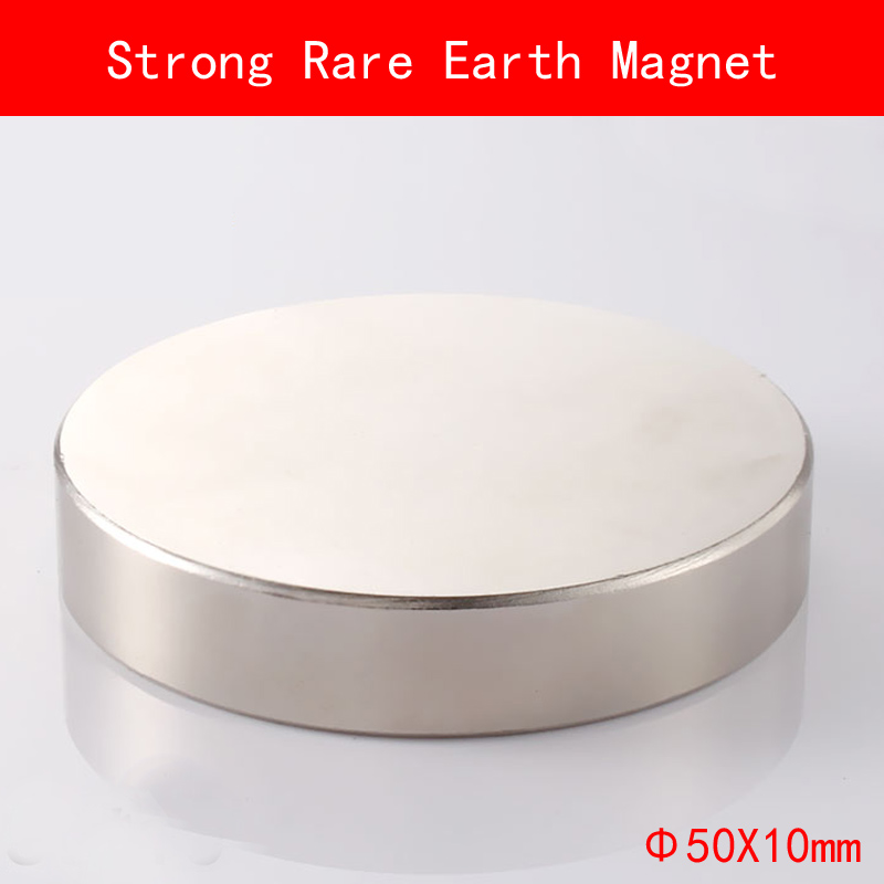 1PCS D50mm x 10mm Strong Round Magnets diameter 50*10MM permanent Rare Earth Magnet plating Nickel d50mm round pick up magnet w hook silver
