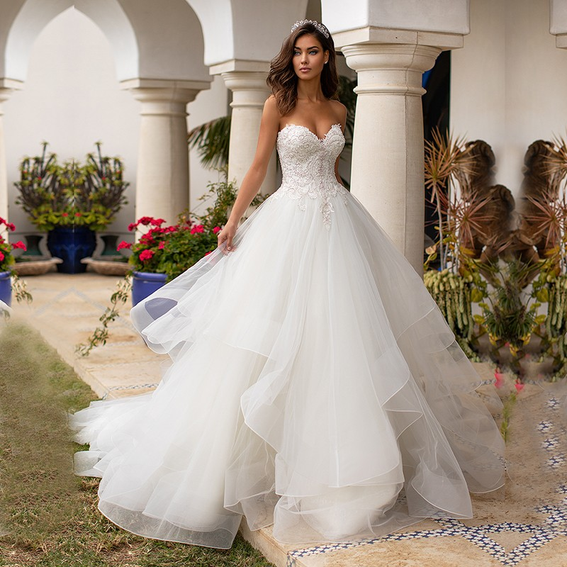 Eightale Princess Wedding Dresses Sweetheart Appliques Beaded Ball Gown Wedding Gowns Backless Elegant Bride Dress 2019