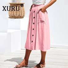 XURU Summer New Women's Pocket Skirt Button Loose Skirt Solid Color Wash Cotton Skirt недорого