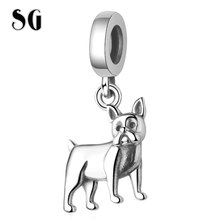 SG New 100% 925 sterling silver Human friend vivid dog Charms Animal Pendant beads Fit pandora Bracelet for Women DIY Jewelry