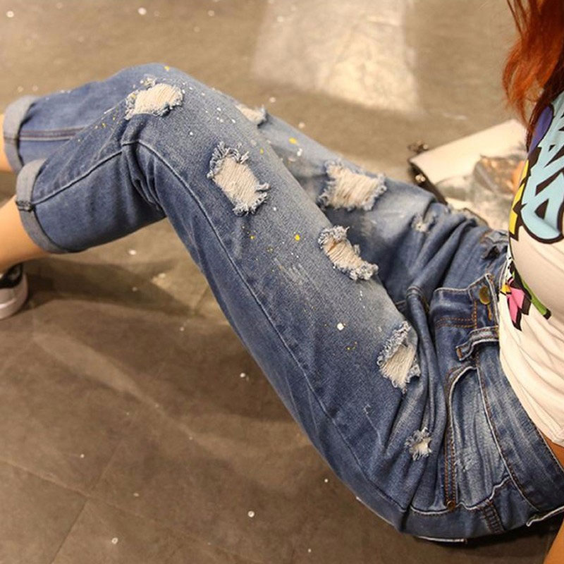 2017 Vintage Summer Boyfriend Jeans Women Fashion Cuffs Ripped Torn Denim Jeans For Women Sexy Pants