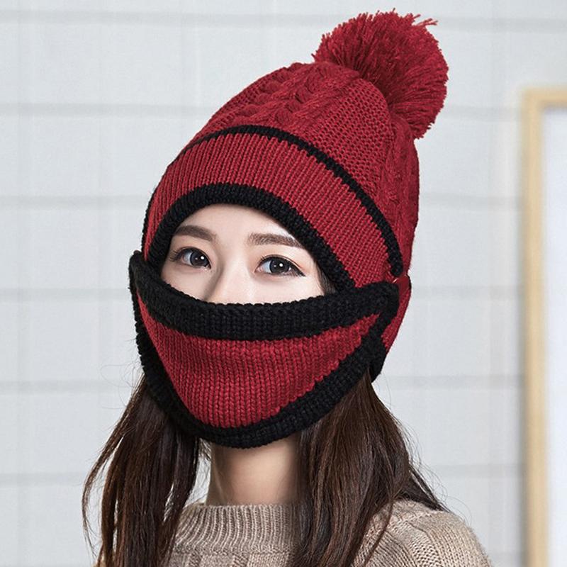Women Winter Beanies Knitted Thickened Hat With Warm Mask And Neck Scarf Driver Windstop Sets