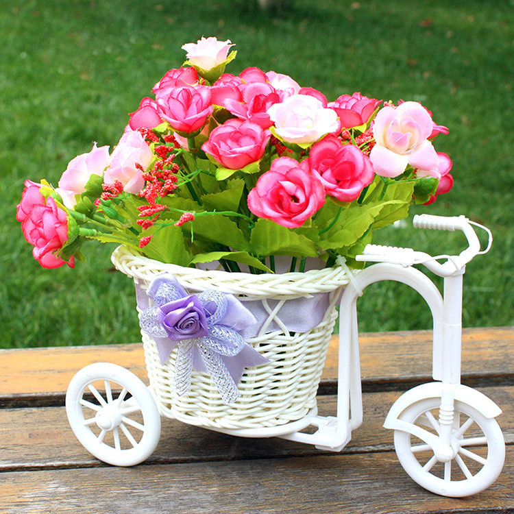 Bicycle Big Wheel Round Basket Organizer Rattan Floats Flower Pot Vase Home Strage Nursery Bonsai Pots Garden Decoration Desktop