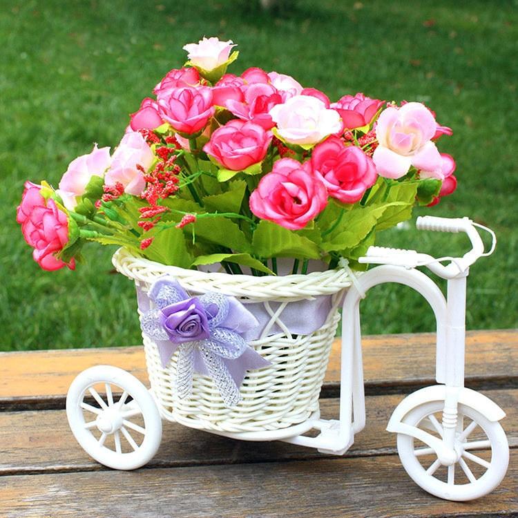 Bicycle Big Wheel Round Basket Organizer Rattan Floats Flower Pot Vase Home Strage Nursery Bonsai Pots Garden Decoration Desktop