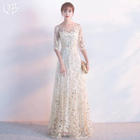 Elegant Blue Pink Red A line Half Sleeve Sequins Tulle Flowers Evening Dresses 2019 New Fashion Formal Evening Gowns XH458
