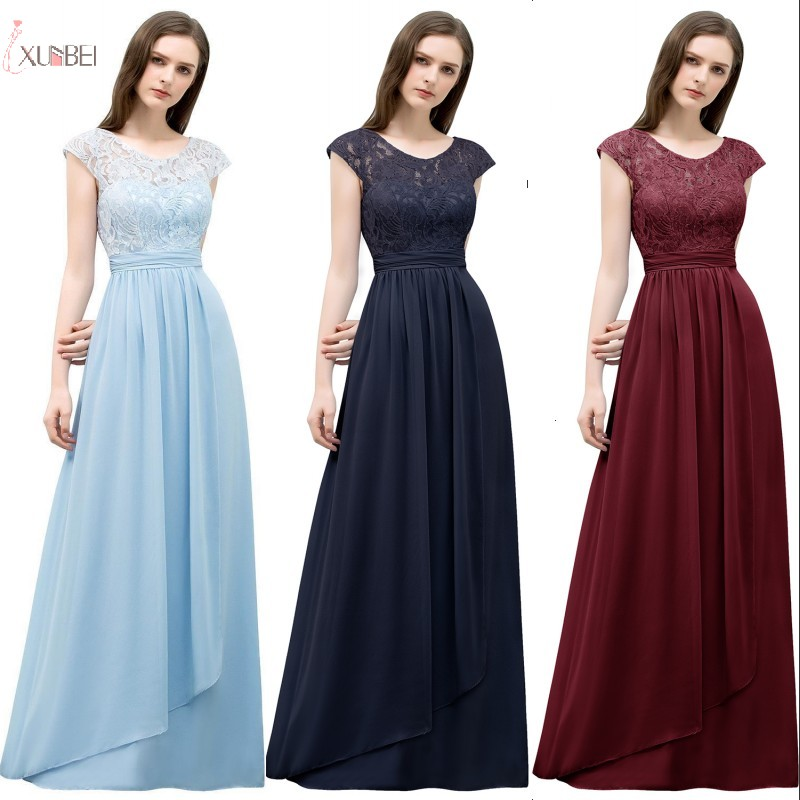 2019 Elegant Burgundy Chiffon Long   Bridesmaid     Dresses   A line Sleeveless Wedding Party Guest   Dress   robe demoiselle d'honneur