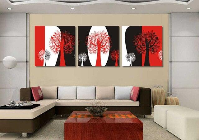 Unframed Abstraktes Schwarz Rot Und Weiß Stillleben 3 Panels Leinwand  Wandkunst Baum ölgemälde Für Wohnzimmer Wandbilder
