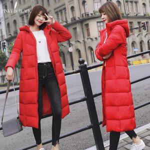 Image 2 - PinkyIsblack Chaqueta de Invierno para Mujer, Chaqueta acolchada de algodón larga con capucha gruesa, Parkas femeninas de talla grande 6XL, 2020