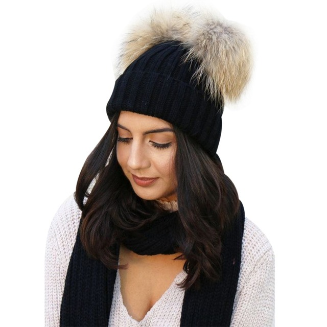 Fashion Winter Warm Chunky Knit Beanie Hat Women s Double Fur Pom Pom  Beanie Cap Faux Fur 66fa5b33f