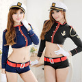 New Sexy Lingerie  Military&Police Uniform Costume Long Sleeve School Uniform Sexy School Girl Sailor Costume Sexy Club