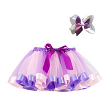 fa82e958be Children's net yarn Rainbow Princess Ballet Tutu Skirt + butterfly oversees  clip hair accessory Set #