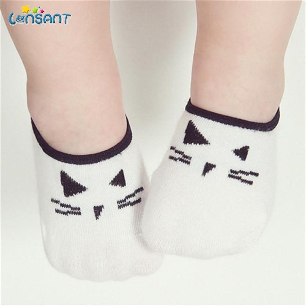 LONSANT Lovely Baby Boy Girl Cartoon Cat Print Elastic Socks Antiskid Toddler Cat Cute Socks