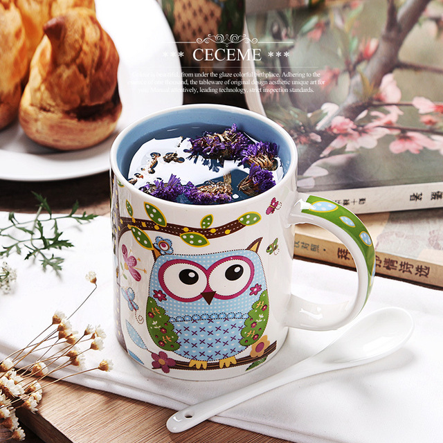 Women owls mugs Creative cute cartoon ceramic Clay contracted mark mug coffee mugs tea for breakfast Christmas holiday Drinkware