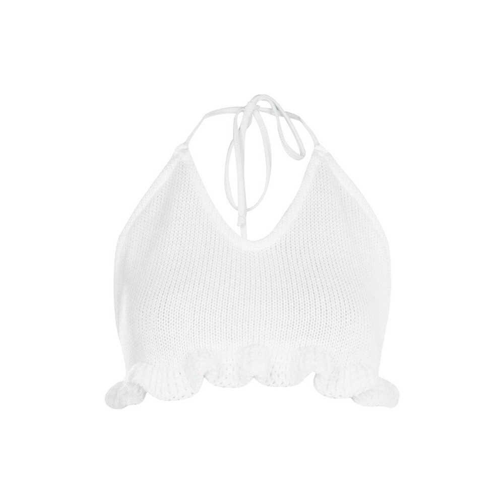 HDY Haoduoyi, 2019, модные женские короткие однотонные белые кроптопы, повседневные топы с открытой спиной и рюшами, сексуальные вязаные летние топы на шнуровке