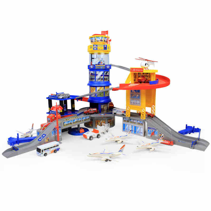 hot wheels Large parking lot assembled puzzle rail toy international aviation center of toys for children brinquedos kids toys