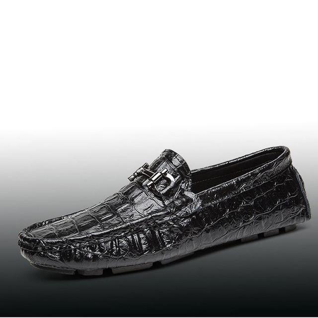 Homens mocassins sapatos de Crocodilo 2016 novo do homem de verão ao ar livre deslizamento em flats cor sólida macio sapatos de condução mocassin homme XK080423