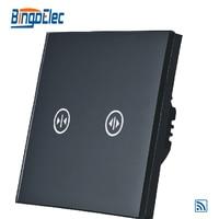 Control remoto inalámbrico interruptor de persiana, cortina de interruptor, interruptor de ciego de vidrio negro, AC110-250V,