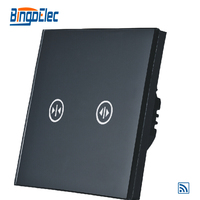 EU UK Standard Curtain Switch Black Toughened Glass Touch Sensor Remote Touch Curtain Switch AC110 250V
