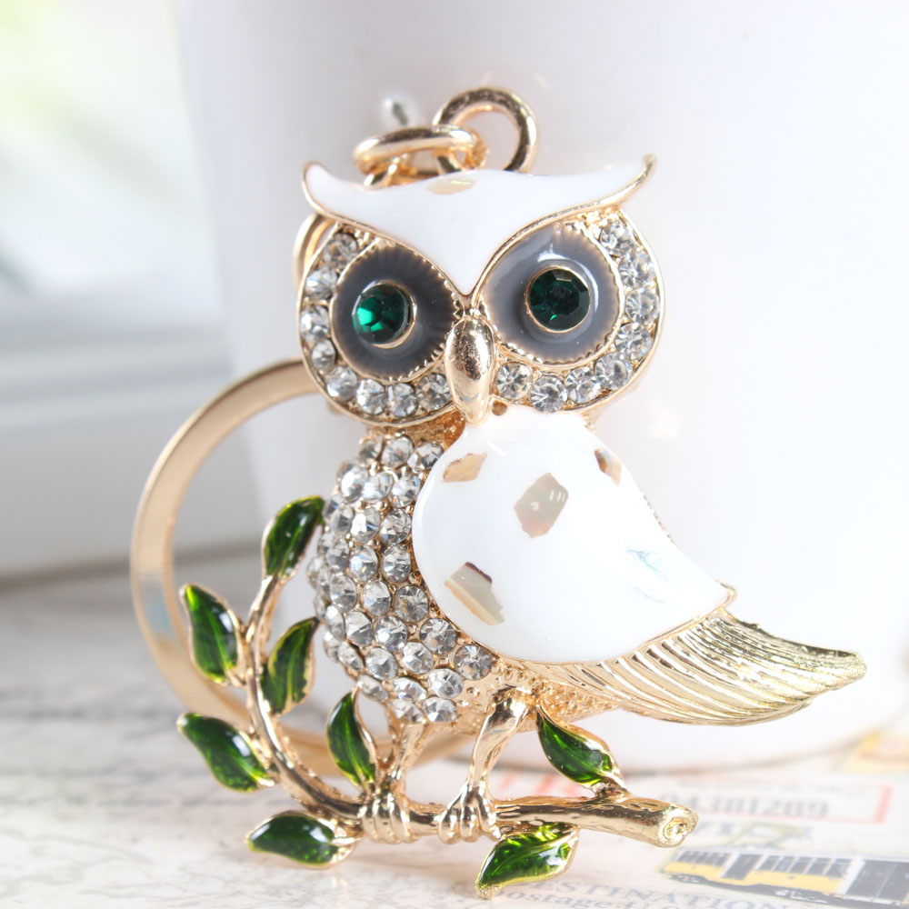 Cute Owl Branch Hvid Crystal Charm Purse Handbag Bil Nøgle Nøglering Nøglering Party Wedding Birthday Gift