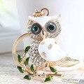 Cute Owl Branch White Crystal Charm Purse Handbag Car Key Keyring Keychain Party Wedding Birthday Gift