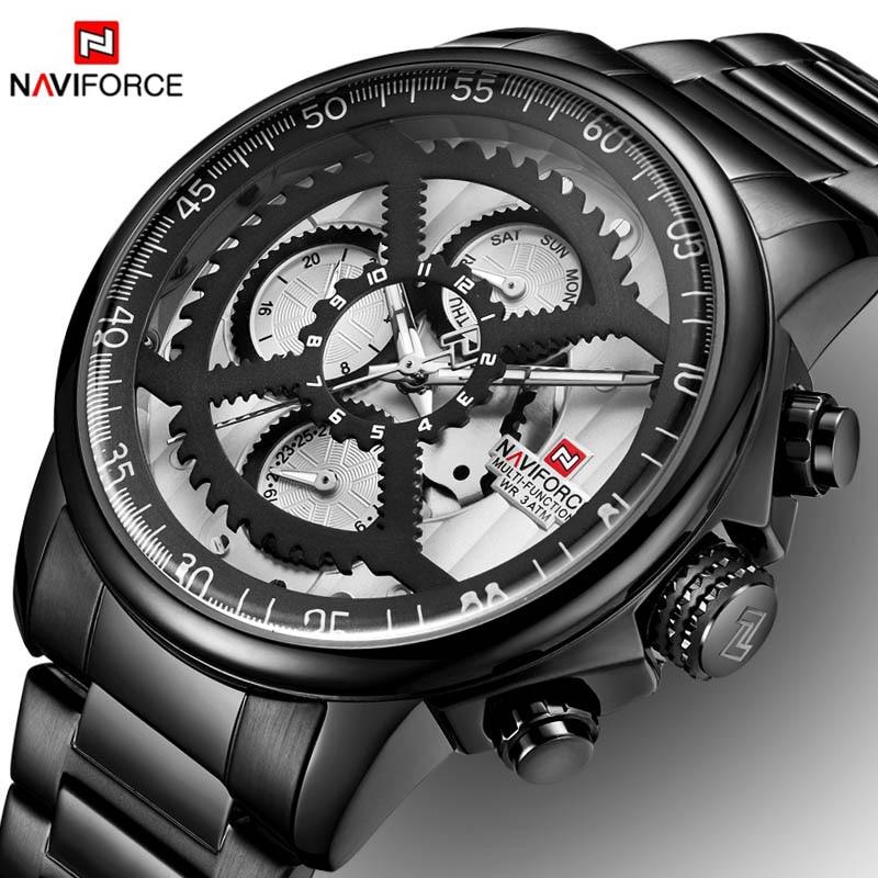 NEW Watches Mens Luxury Brand NAVIFORCE Men Sports Watches Men's Waterproof Full Steel Quartz 24 Hours Watch Relogio Masculino