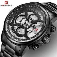 Novos relógios de luxo da marca naviforce dos homens esportes relógios masculinos à prova dwaterproof água aço completo quartzo 24 horas relógio relogio masculino|Relógios de quartzo| |  -