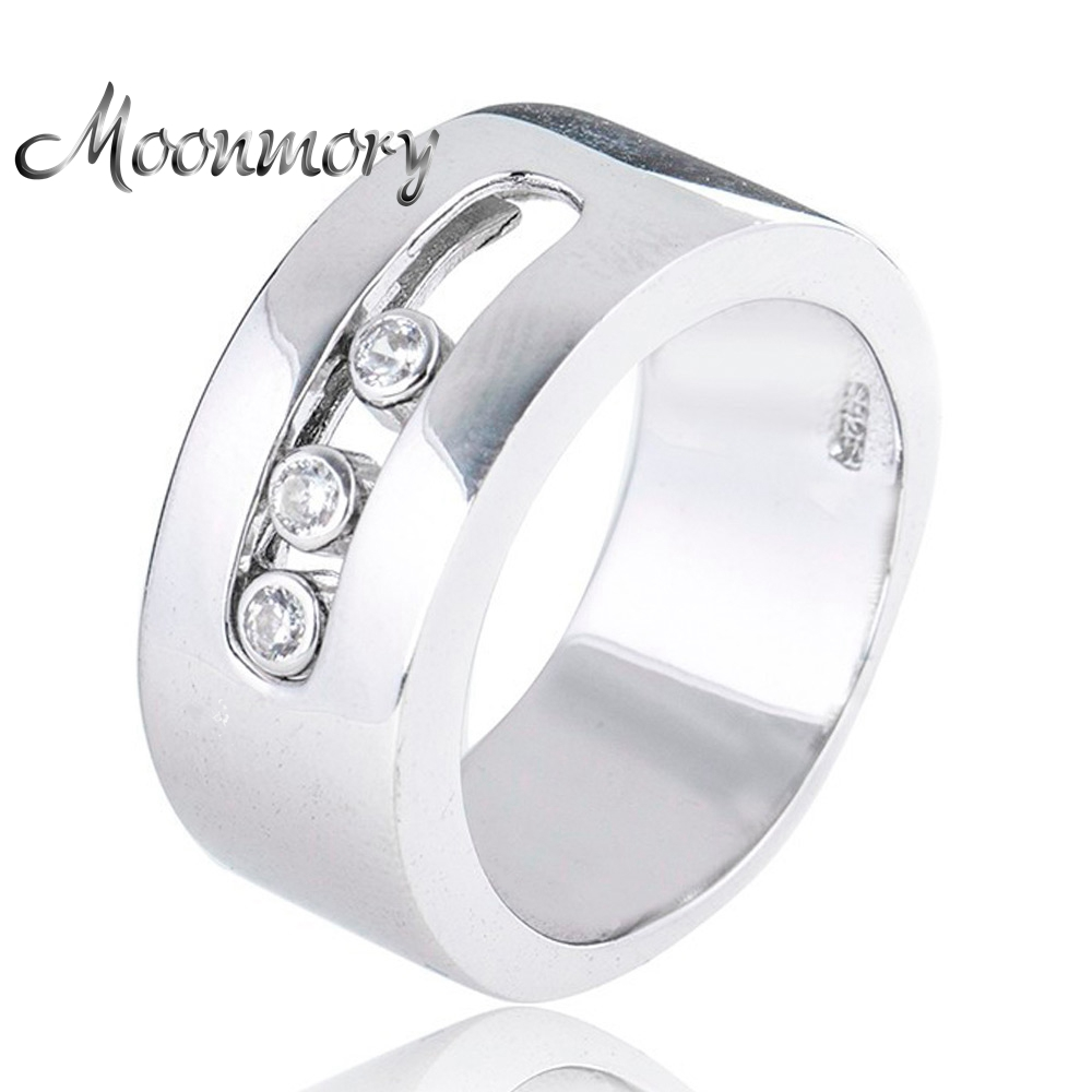Moonmory European Style Couple Wedding 925 Sterling Silver Rings With Moveable Cubic Zirconia For Women Man