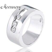Moonmory Европейский Стиль Пара Свадьба стерлингового серебра 925 Кольца с подвижным кубического циркония для женщин Человек обручальное ювелирные изделия