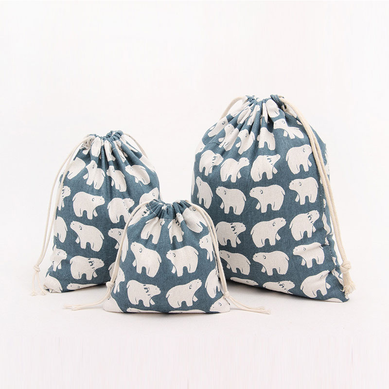Big White Bear Gift Bags For Children Cotton And Linen Drawstring Pouch Small Jewelry Travel Drawstring Bags