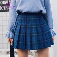 Harajuku Vintage Red Blue Plaid Skirt Autumn Winter Women High Waist Pleated Skirts Punk Gothic Female Fashion Short Skirts