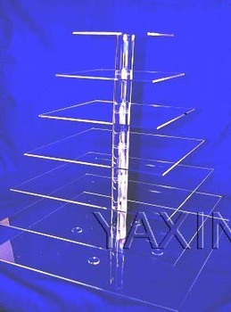 Free Shipping Clear 7 Tier square Acrylic Cake Stand, Plexiglass Cupcake Display For Cake Shop